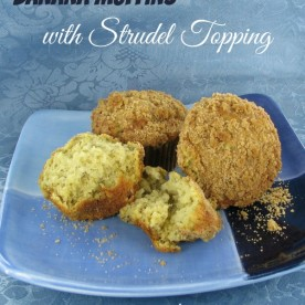 These banana muffins with brown sugar streudel topping are scrumptious! Get the printable recipe at thegardeningcook.com/