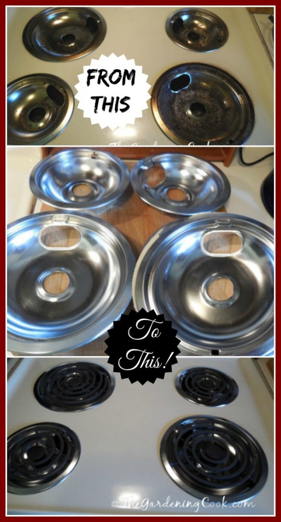 24 hours, three ingredients and very little elbow grease took my grungy burner drip pans from ugly to super clean the easy way. Find out how at thegardeningcook.com/easy-drip-pan-and-burner-cleaning