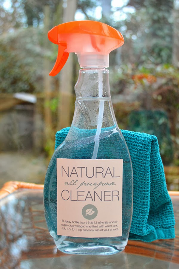 All purpose cleaner with vinegar, water and essential oils.