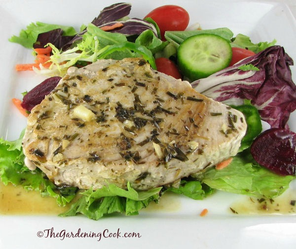 Ahi Tuna with Tarragon Wine Reduction