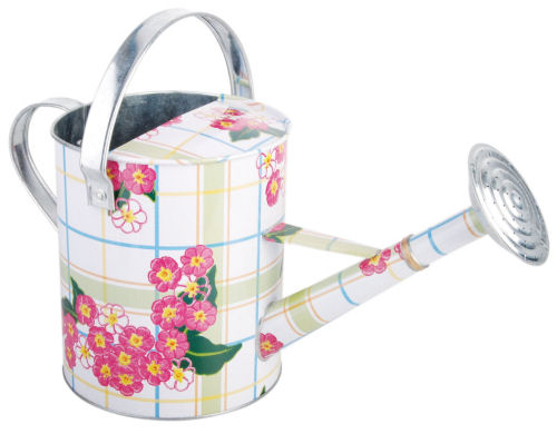 Galvanized watering can with flowers