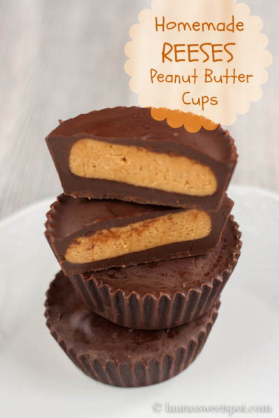 Home made Reese's peanut butter cups from laurassweetspot.com