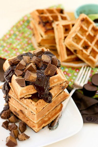Chocolate peanut butter waffles from celebrations.com