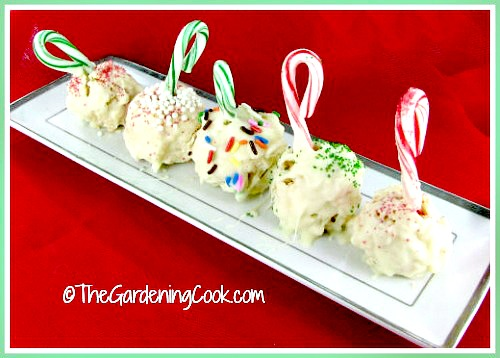 These peppermint rice Krispie ball treats will add a festive touch to your holiday table this year. thegardeningcook.com