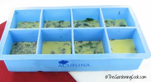 freeze fresh herbs in silicone ice trays