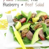 Paleo Beef Avocado Blueberry Salad with maple Mustard dressing.