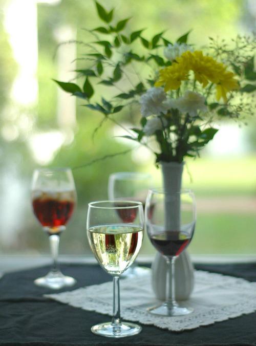 casual wine tasting setting