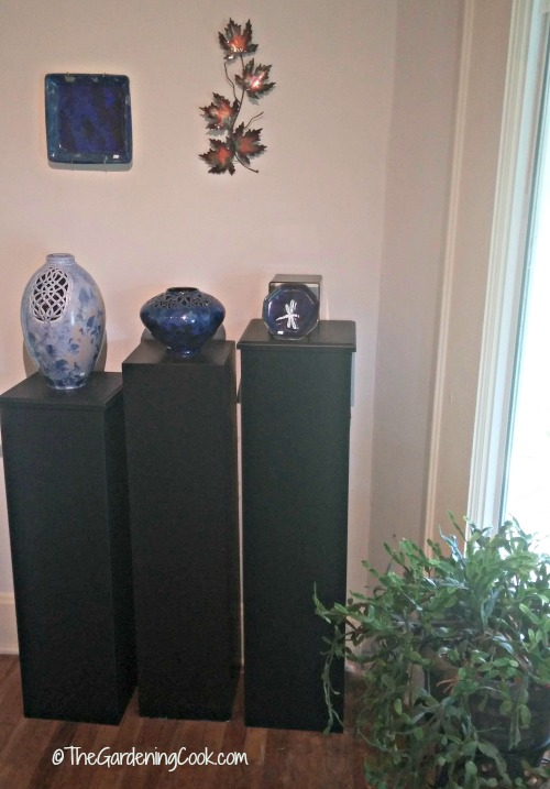 eclectic modern pottery display