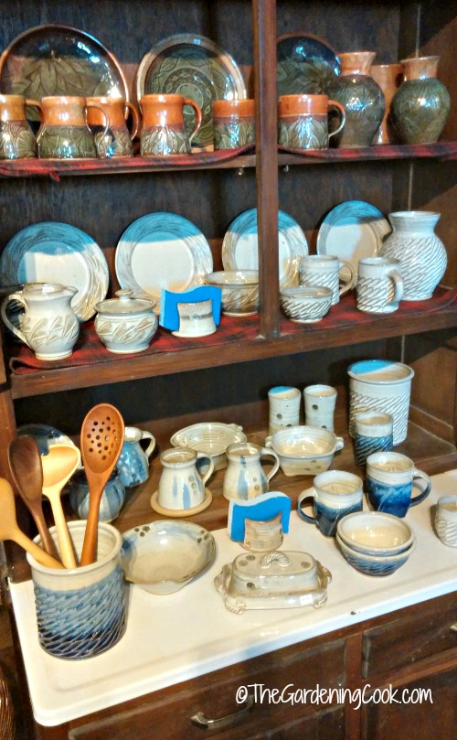 Rustic pottery display