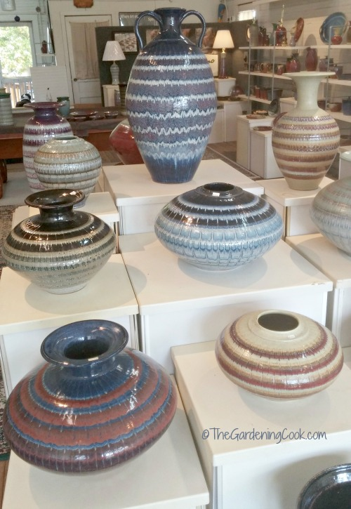 blue themed pottery urns