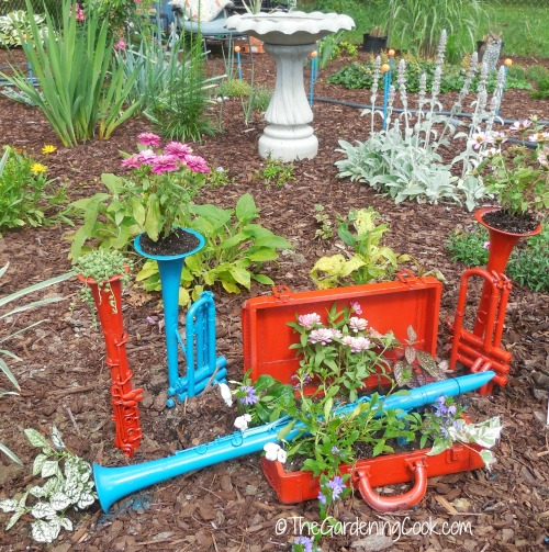 musical planters add a touch of whimsy