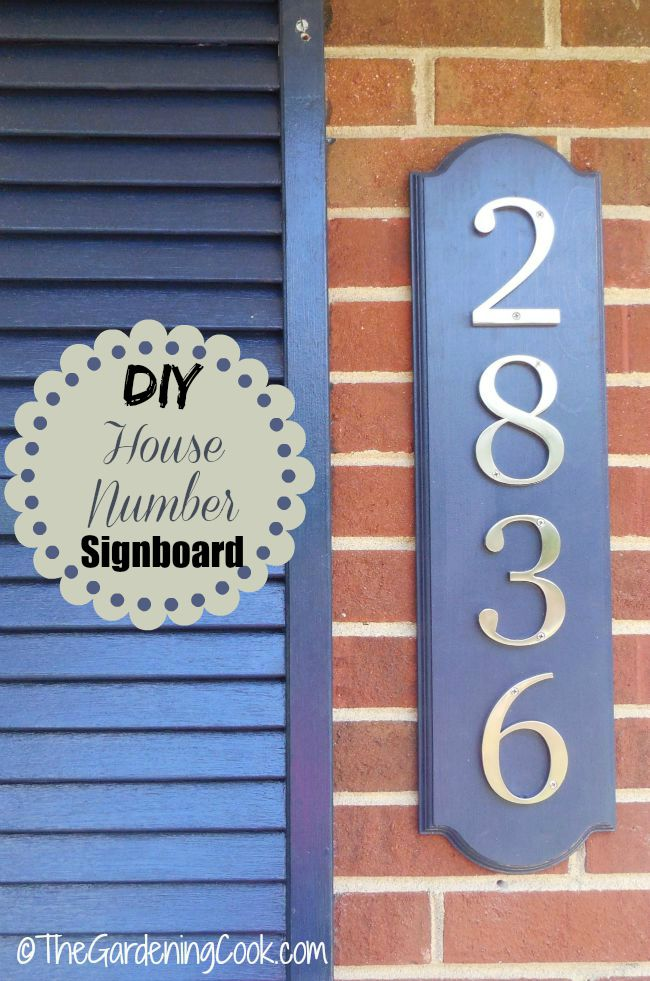 This DIY house number signboard adds curb appeal to a front entry.
