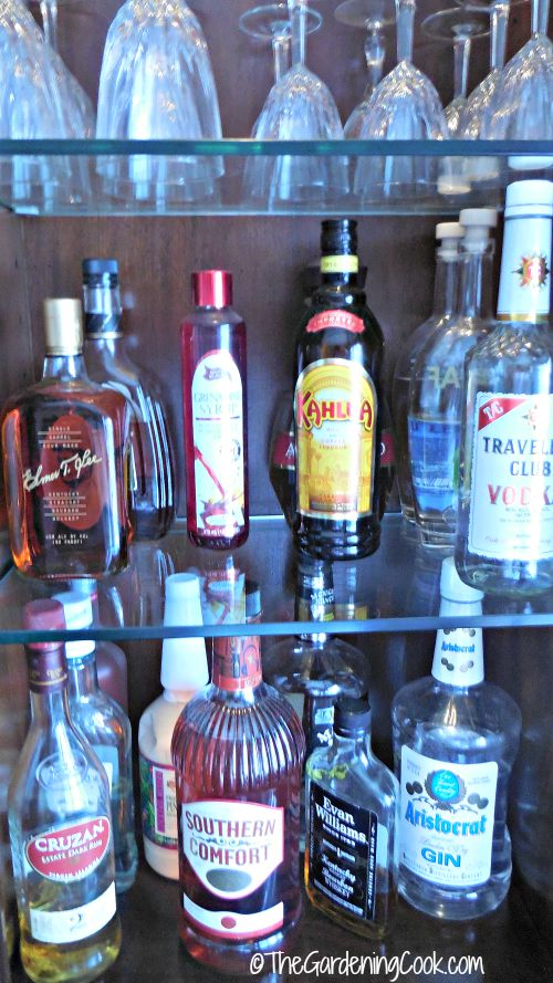 I keep my home bar on shelving in my china cabinet