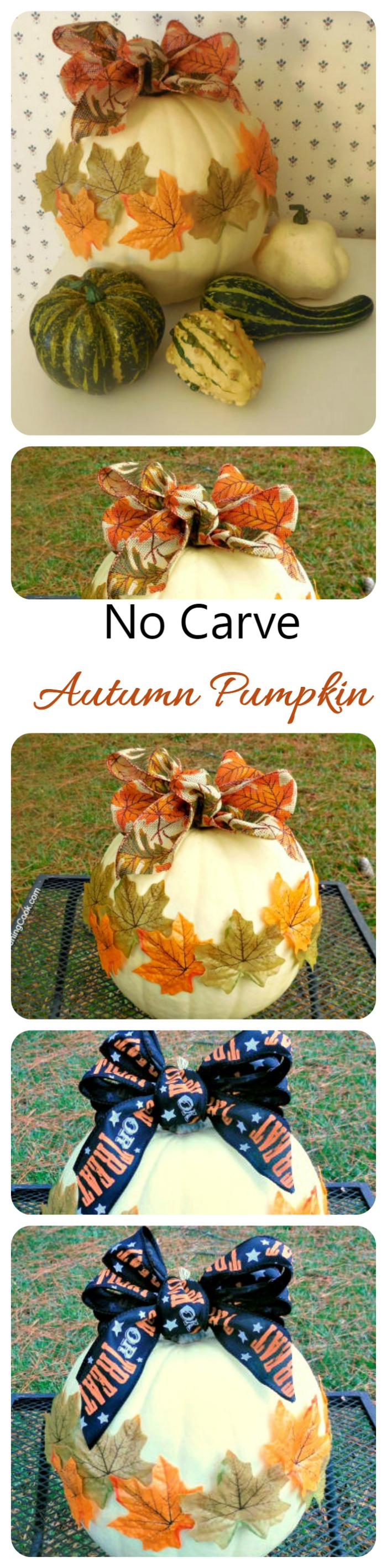 This no carve autumn leaf pumpkin comes together very quickly and adds a nice seasonal touch to your front porch.