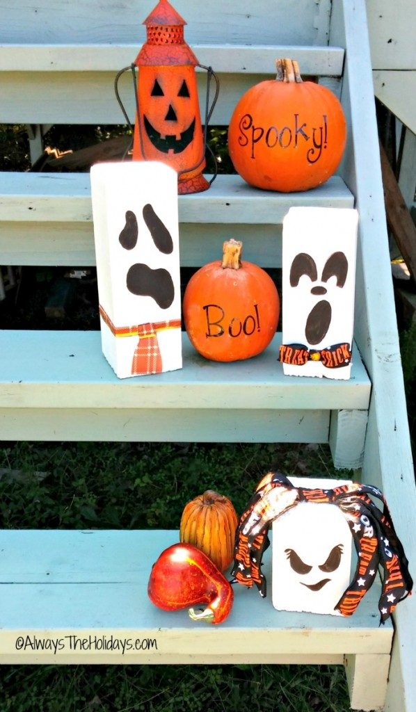 These adorable scrap wood ghosts add great curb appeal to a front entry.