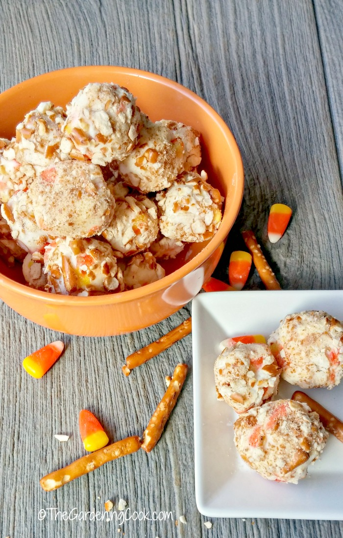 These Candy corn pretzel balls are the perfect blend of sweet and savory in one delicious bite.