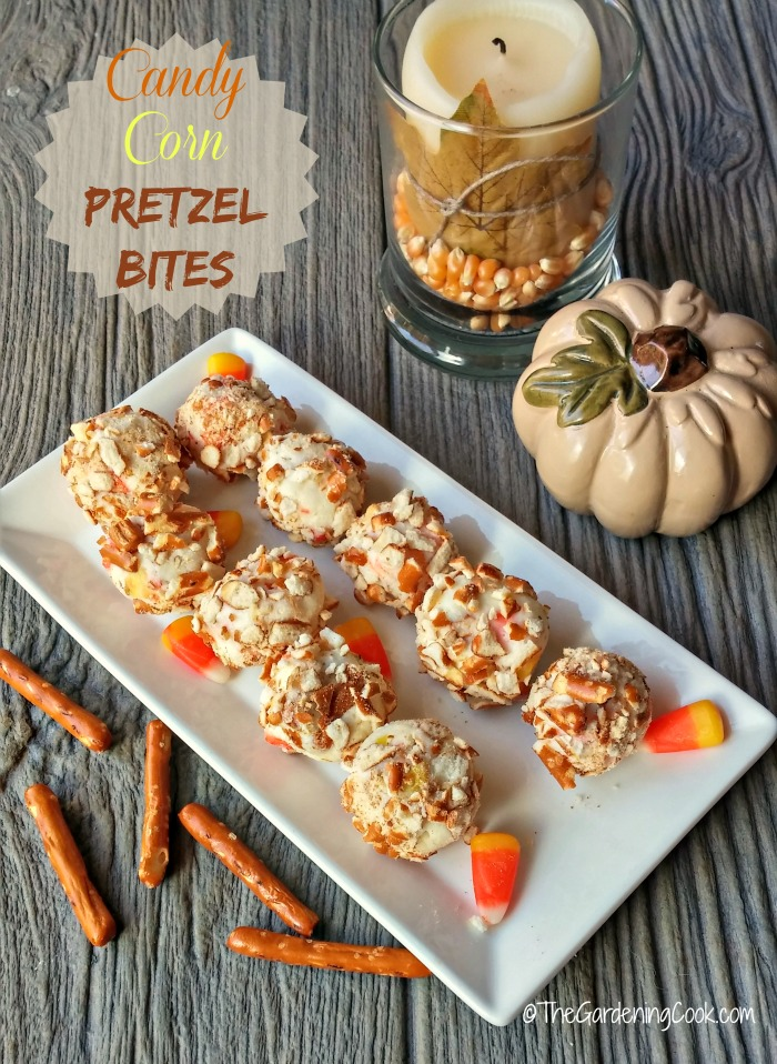 These yummy candy corn pretzel bites are the perfect little bite of seasonal fun.