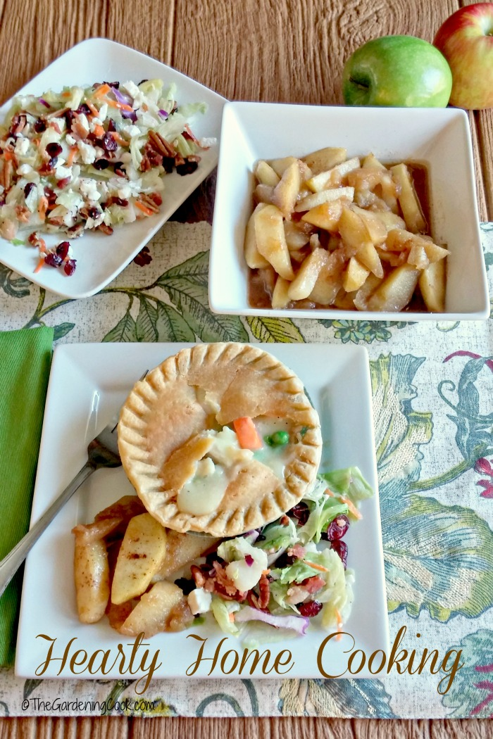 This comfy meal features homemade cinnamon apples, with pear, walnut and cranberry salad and a Marie Callender chicken pot pie. It is a perfect semi homemade delight for the busy days ahead. #PotPiePlease #ad