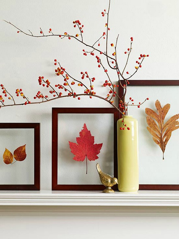 Easy Fall Mantle Decor