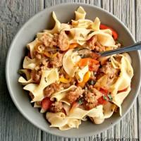 Italian sausage casserole with drunken noodles