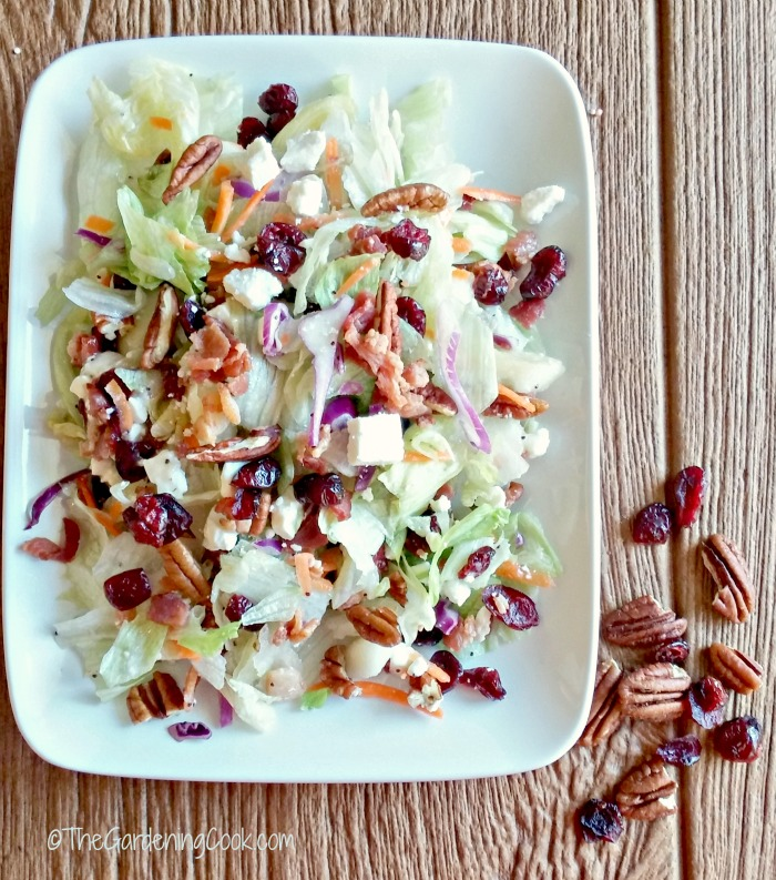 Pear Cranberry and pecan salad.