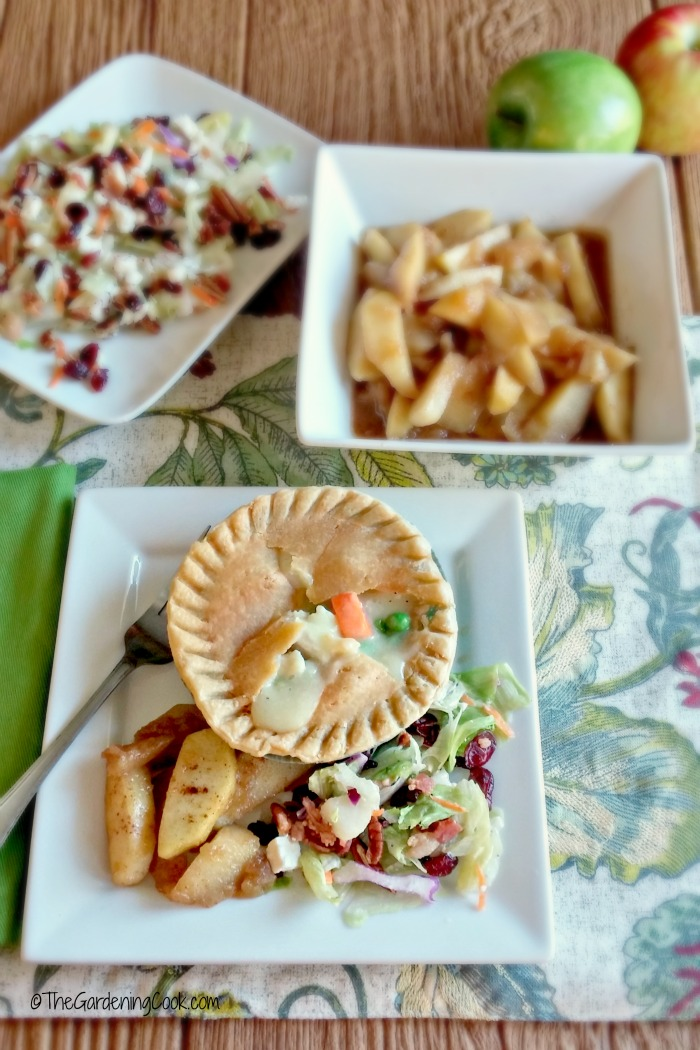 Chicken pot pie, tangy salad and cinnamon apples.