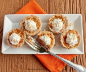 These pumpkin swirl mini cheesecakes are the perfect size for your Thanksgiving guests. They are a delicious blend of cream cheese, pumpkin puree and seasonal spices. thegardeningcook.com