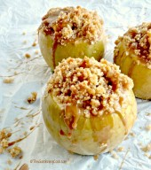 Apple crumble baked apples with caramel sauce