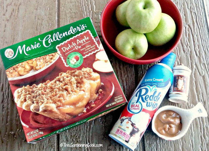 Gather the ingredients to make apple crumble apples