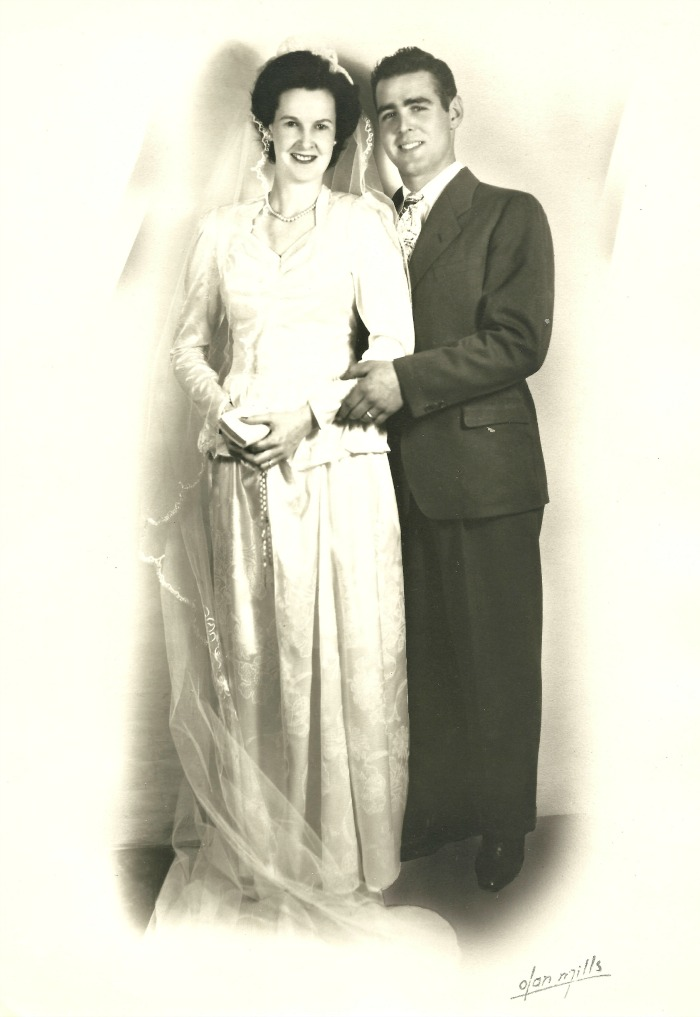 Mum and Dad's wedding photo. They were married 66 years.