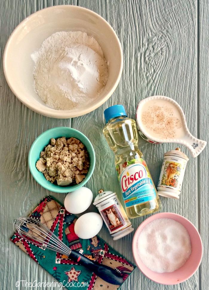 ingredients for eggnog muffins