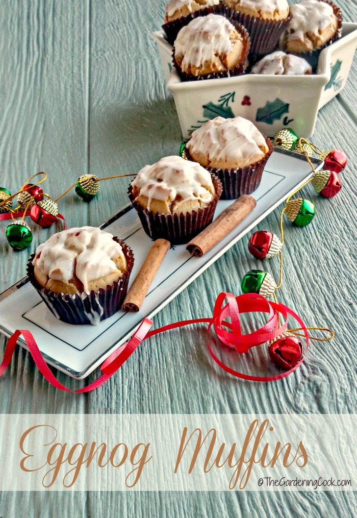 These eggnog muffins are the perfect addition to any holiday brunch or breakfast. They are light and fluffy and the eggnog glaze is TO DIE FOR! thegardeningcook.com #TheDessertDebate #ad
