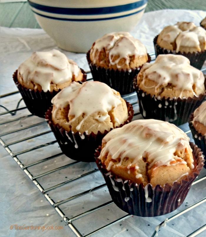 Glazed eggnog muffins