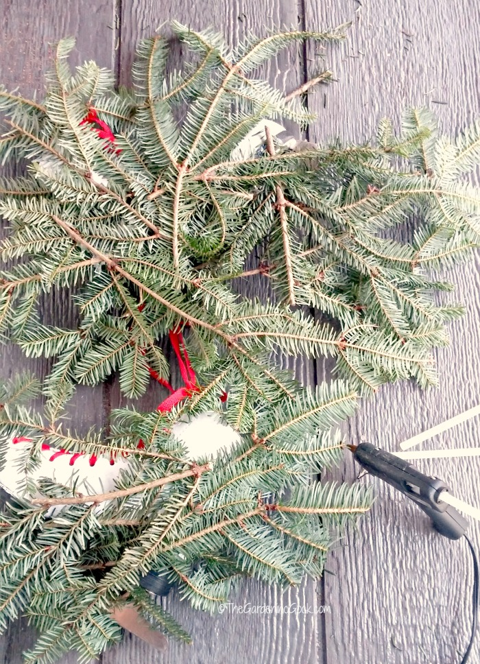 hot glued fir boughs on skates