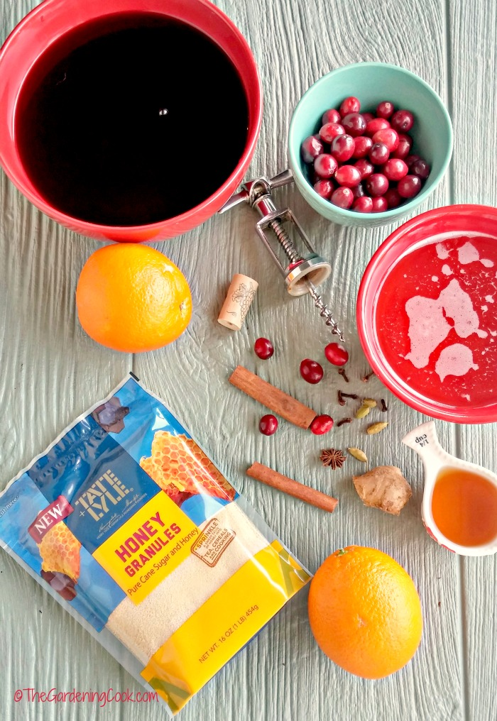 Ingredients for spiced wine recipe
