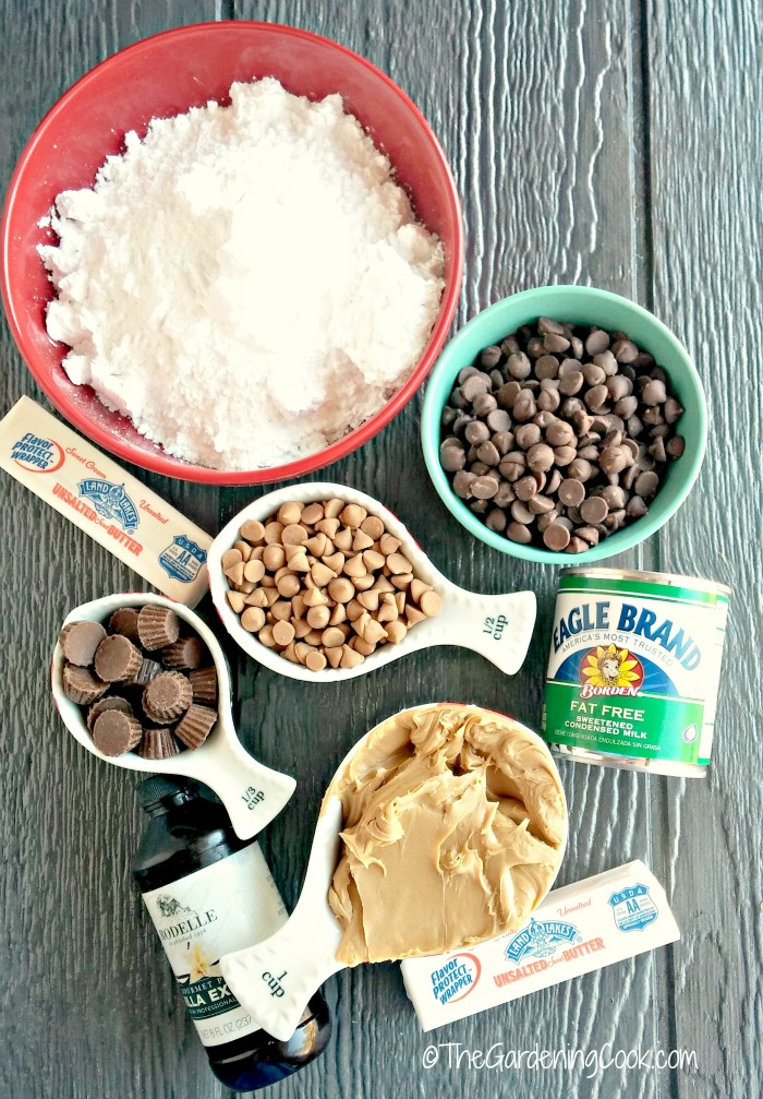 ingredients for Reese's Peanut butter Cup Fudge