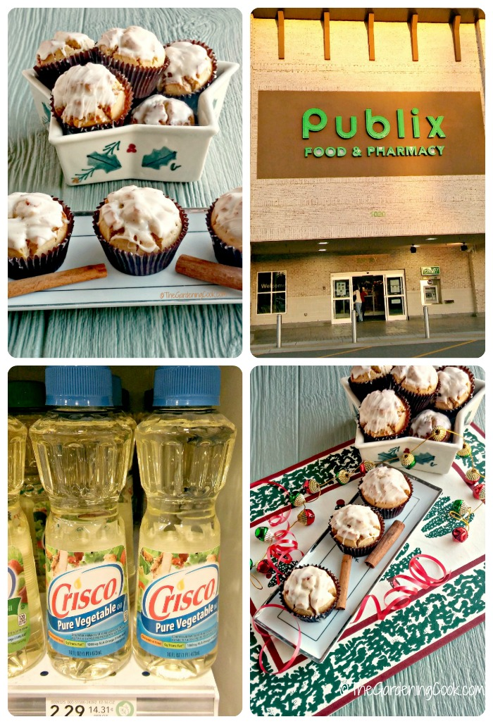 Shop Publix grocery store for Crisco to make these muffins.