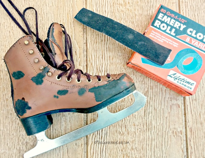 Sand the ice skates for a smooth finish.
