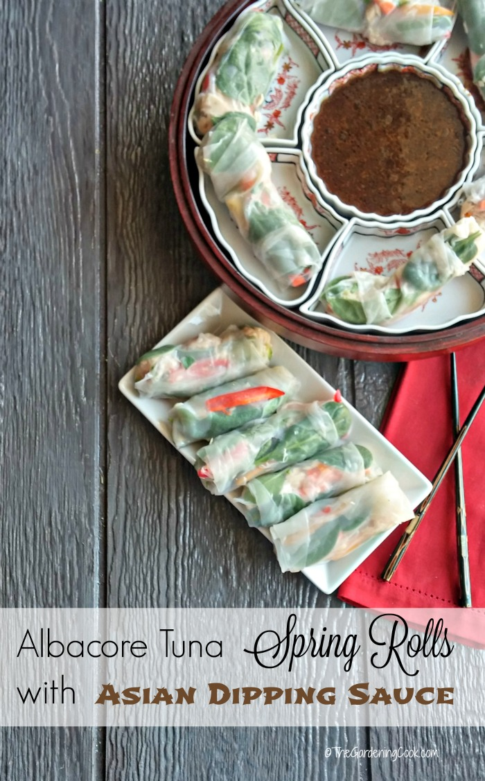 These albacore tuna rice paper spring rolls with an Asian dipping sauce are the perfect party appetizer, or Asian side dish. thegardeningcook.com #OnlyAlbacore #CG #BumbleBeeTuna #ad