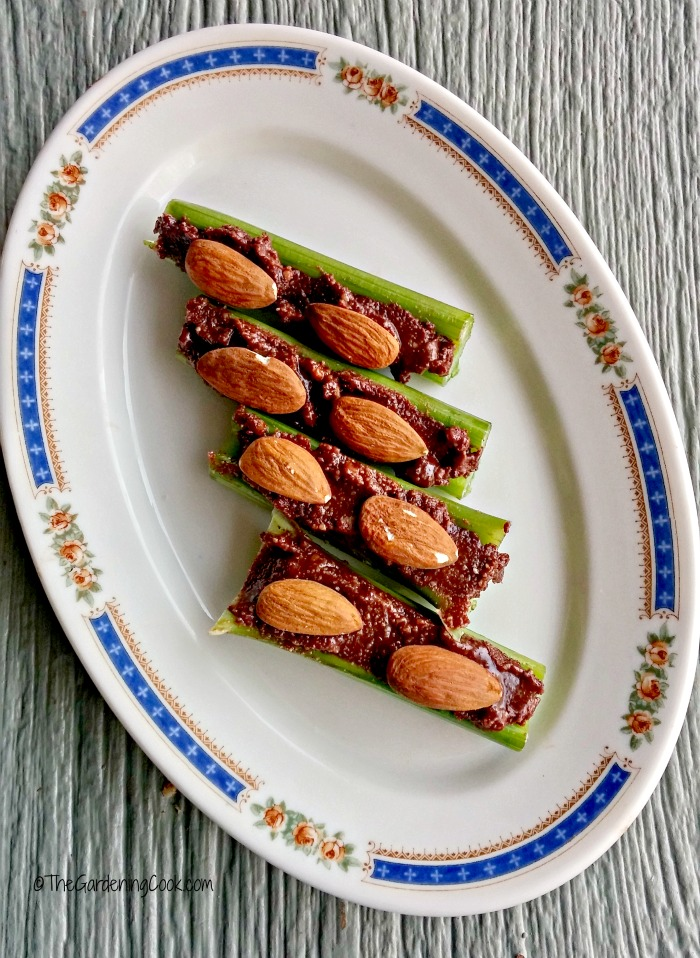 Ants on a log with hazelnut butter