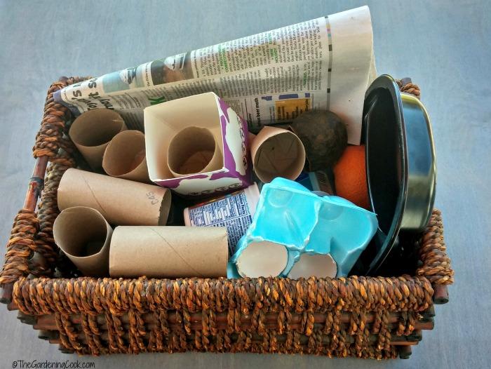 basket of supplies for DIY planting pots