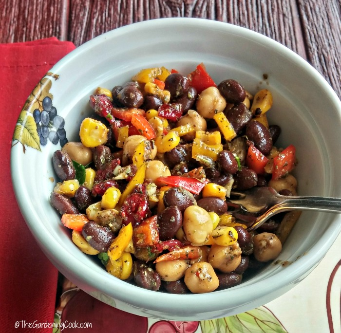 Mediterranean bean & chick pea salad makes a great vegetarian lunch