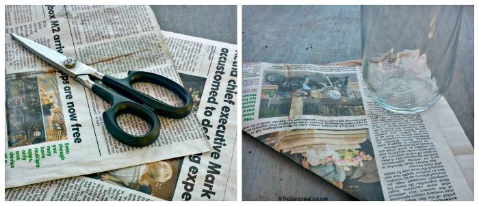Cut the newspaper in half and then fold each section into a triangle shape