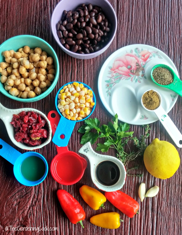 ingredients for Mediterranean bean & chick pea salad.