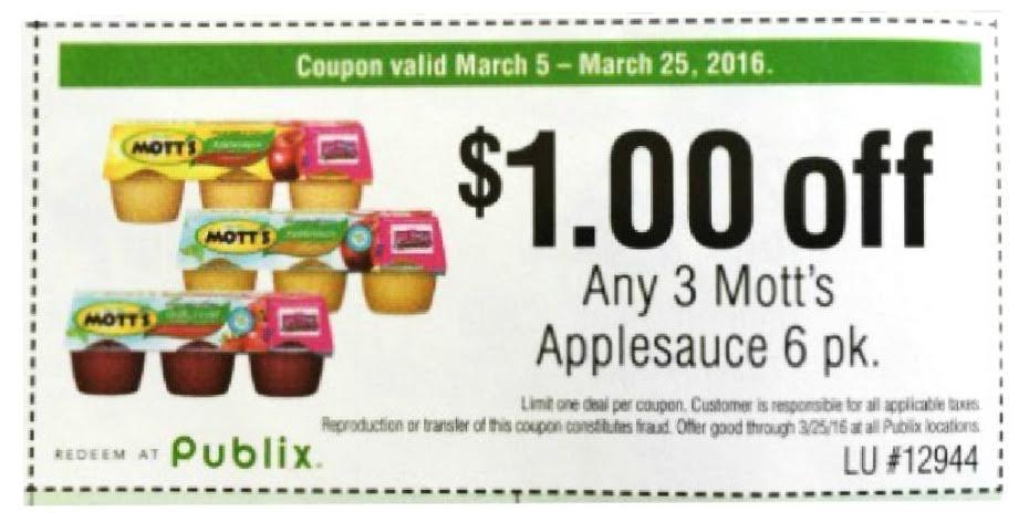 Motts Applesauce coupon