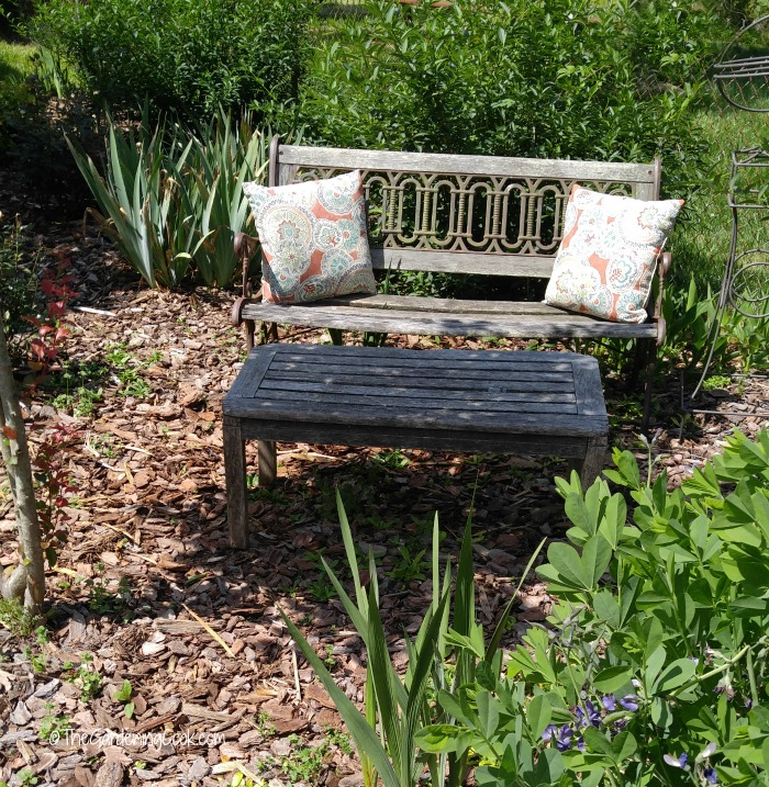 Park bench and pillows.