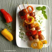 Cajun style andouille sausage kebabs