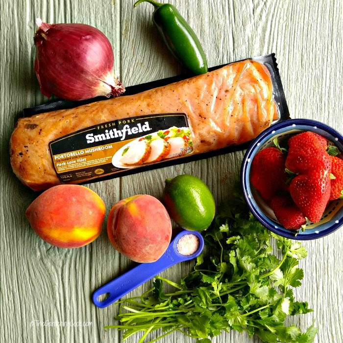 Ingredients for grilled pork with strawberry peach salsa