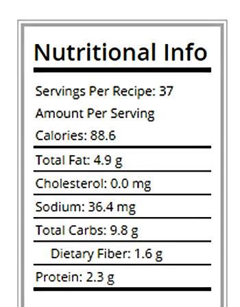 Nutritional info for no bake peanut butter energy bites