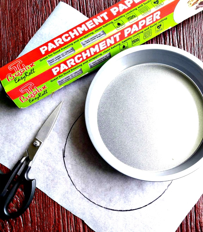 Cut Parchment paper to size by outlining the bottom of your pan with a sharpie and cutting it. You can use it in any size pan.